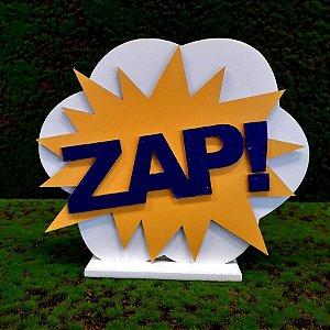Decoração MDF Placa Zap -  Amarelo e Azul - 01 Unidade - Mara Móveis - Rizzo