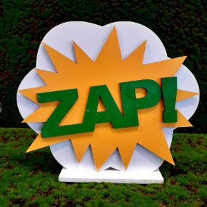 Decoração MDF Placa Zap - Amarelo e Verde - 01 Unidade - Mara Móveis - Rizzo