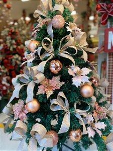 Kit Decoração Rosê Gold para Árvore de Natal 150cm - 01 unidade - Cromus Natal - Rizzo Embalagens