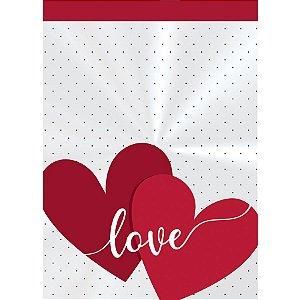 Saco Decorado Registrado Love - 11x19,5cm - 50 unidades - Cromus - Rizzo Embalagens