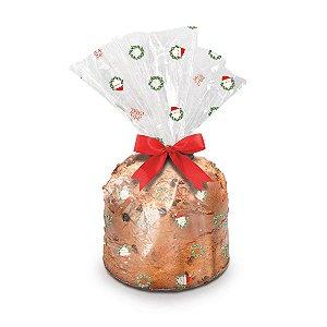 Saco para Panetone Guirlanda - Cromus Natal - Rizzo Embalagens e Festas