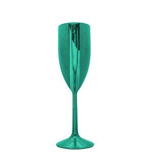 Taça Champanhe Metalizada Verde - 01 Unidade - Rizzo Festas