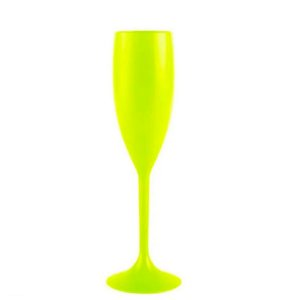 Taça Champanhe Acrílico Amarelo Neon - 01 Unidade - Rizzo Festas