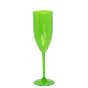 Taça Champanhe Acrílico Verde Neon - 01 Unidade - Rizzo Festas