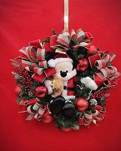 Guirlanda Decorada 60cm Mickey com Urso - 01 unidade - Cromus Natal - Rizzo Embalagens