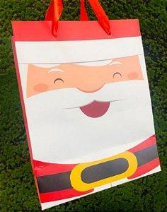 Sacola Decorada Natal M Papai Noel Sorrindo - 01 unidade - Rizzo Embalagens