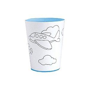 Copo para Colorir Color Cup Aventureiro - Azul 10cm - 01 unidade - Rizzo Embalagens