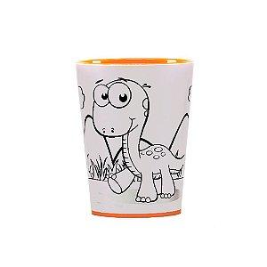 Copo para Colorir Color Cup Dinossauro - Laranja 10cm - 01 unidade - Rizzo Embalagens
