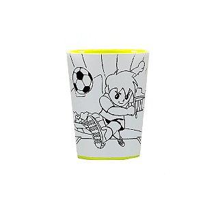 Copo para Colorir Color Cup Futebol - Amarelo 10cm - 01 unidade - Rizzo Embalagens