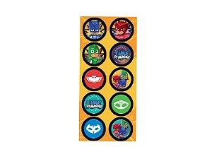 Adesivo Redondo Festa PJ Masks - 30 unidades - Regina - Rizzo Festas