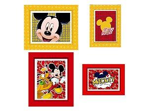 Quadrinho Decorativo c/ Moldura Festa Mickey Mouse - 04 Unidades - Regina - Rizzo Festas