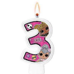 Vela Festa LOL Surprise Número 3 - 01 Unidade - Regina Festas - Rizzo Festas