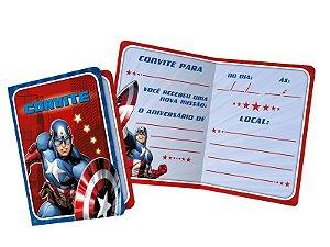 Convite Festa Vingadores Capitão América - 8 Unidades - Regina - Rizzo Festas