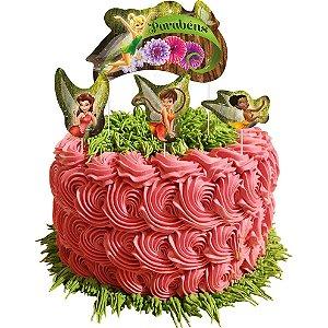 Topper para Bolo Festa Fadas Disney - 04 Unidades - Festcolor - Rizzo Festas