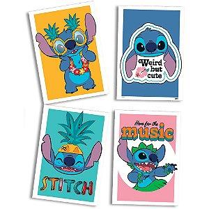 Quadro Decorativo Festa Festa Stitch - 04 unidades - Festcolor - Rizzo Festas