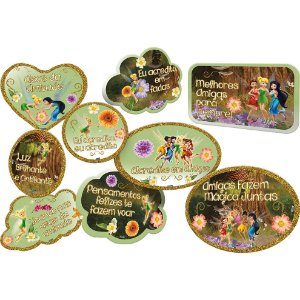 Kit Plaquinhas Divertidas Festa Fadas Disney - 09 unidades - Festcolor - Rizzo Festas