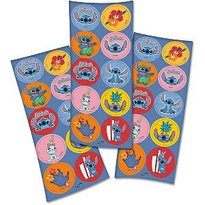 Adesivo Redondo Festa Stitch  - 30 unidades - Festcolor - Rizzo Festas