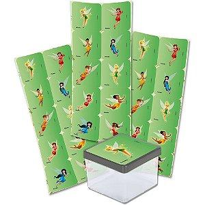 Adesivo Quadrado Festa Fadas Disney - 30 unidades - Festcolor - Rizzo Festas