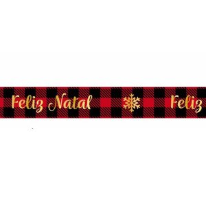 Fita de Natal em Cetim Xadrez Feliz Natal  ECF003TH 001- 15mm x 10m - Progresso - Rizzo Embalagens