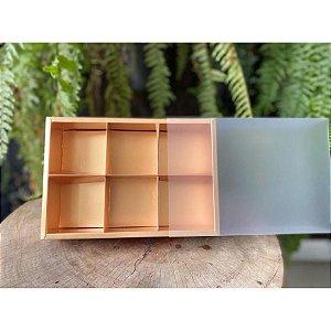Caixa Pão de Mel Ouro Fosco 23x15,5x5cm com 6 divisões - 01 unidade - Rizzo