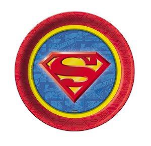 Prato Festa Superman 18Cm - 8 unidades - Festcolor - Rizzo Festas