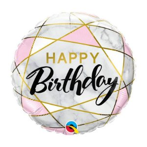 "Balão de Festa Bubble 18"" - Happy Birthday Retangulos - 01 Unidade - Qualatex - Rizzo Embalagens"