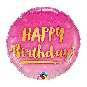 """Balão de Festa Bubble 18"""" - Happy Birthday Ouro e Rosa- 01 Unidade - Qualatex - Rizzo Embalagens"""