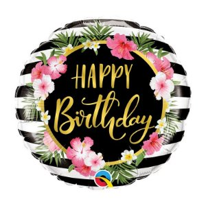 "Balão de Festa Bubble 18"" - Happy Birthday Hibisco Listras- 01 Unidade - Qualatex - Rizzo Embalagens"