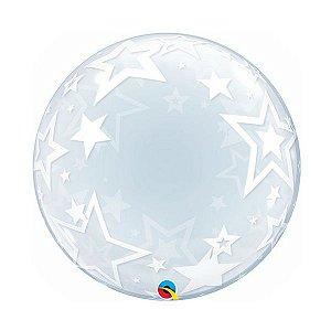 """Balão de Festa Deco Bubble 24"""" - Estrelas Elegantes - 01 Unidade - Qualatex - Rizzo Embalagens"""