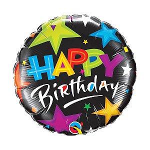 """Balão de Festa Bubble 18"""" - Birthday Estrela Brilhante- 01 Unidade - Qualatex - Rizzo Embalagens"""