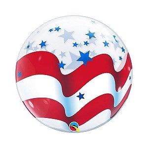 """Balão de Festa Bubble 22"""" - Listras e Estrelas - 01 Unidade - Qualatex - Rizzo Embalagens"""