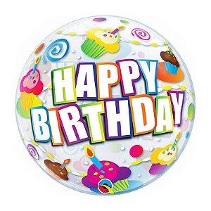 """Balão de Festa Bubble 22"""" - Birthday Cupcakes Coloridos - 01 Unidade - Qualatex - Rizzo Embalagens"""