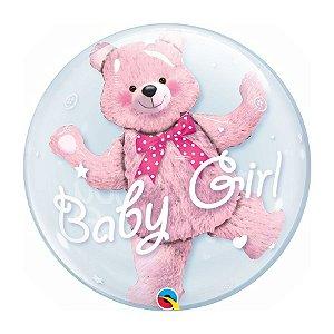 """Balão de Festa Bubble Duplo 24"""" - Baby Girl Ursinho Rosa - 01 Unidade - Qualatex - Rizzo Embalagens"""