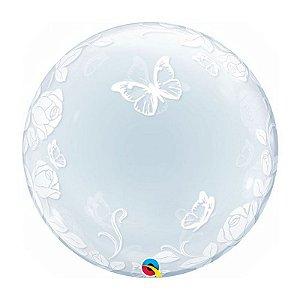 """Balão de Festa Bubble Duplo 24"""" 60cm - Rosas e Borboletas - 01 Unidade - Qualatex - Rizzo Embalagens"""