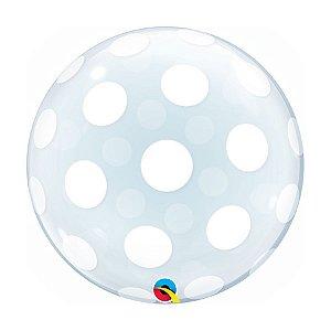 "Balão de Festa Bubble Duplo 20"" 51cm - Pontos Polka Grandes - 01 Unidade - Qualatex - Rizzo Embalagens"