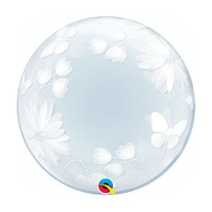 "Balão de Festa Bubble Duplo 20"" 51cm - Happy Birthday Flores - 01 Unidade - Qualatex - Rizzo Embalagens"