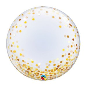 "Balão de Festa Bubble Duplo 24"" 60cm - Happy Birthday Confete Ouro - 01 Unidade - Qualatex - Rizzo Embalagens"