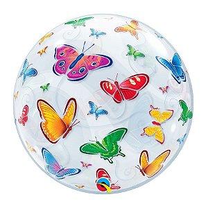 """Balão de Festa Bubble 22"""" 56cm - Borboletas - 01 Unidade - Qualatex - Rizzo Embalagens"""