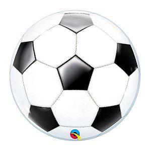 """Balão de Festa Bubble 22"""" 56cm - Bola de Futebol - 01 Unidade - Qualatex - Rizzo Embalagens"""