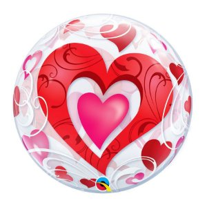 """Balão de Festa Bubble 22"""" 56cm - Corações Vermelhos e Fligrana - 01 Unidade - Qualatex - Rizzo Embalagens"""