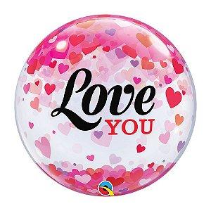 """Balão de Festa Bubble 22"""" 56cm - Love You Coração - 01 Unidade - Qualatex - Rizzo Embalagens"""