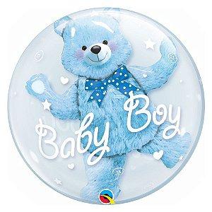 """Balão de Festa Bubble Duplo 24"""" 60cm - Baby Boy Ursinho - 01 Unidade - Qualatex - Rizzo Embalagens"""