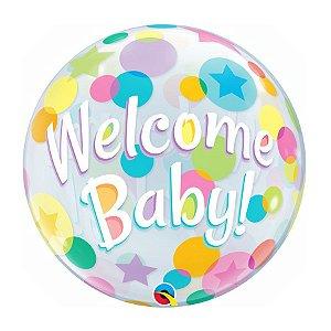 """Balão de Festa Bubble 22"""" 56cm - Welcome Baby - 01 Unidade - Qualatex - Rizzo Embalagens"""