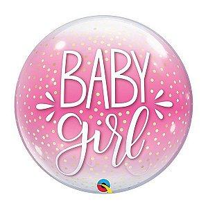 "Balão de Festa Bubble 22"" 56cm - Baby Girl - 01 Unidade - Qualatex - Rizzo Embalagens"