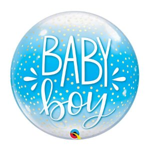 "Balão de Festa Bubble 22"" 56cm - Baby Boy - 01 Unidade - Qualatex - Rizzo Embalagens"