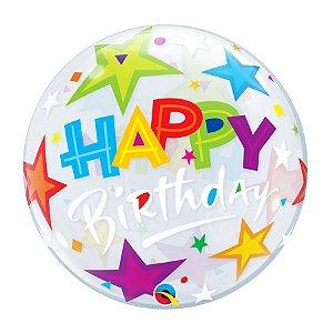 "Balão de Festa Bubble 22"" 56cm - Happy Birthday Estrelas - 01 Unidade - Qualatex - Rizzo Embalagens"