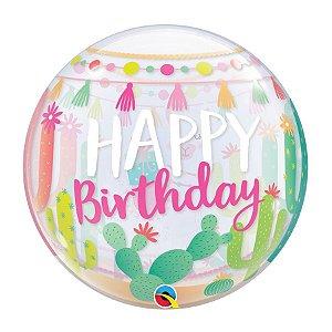 "Balão de Festa Bubble 22"" 56cm - Happy Birthday Lhama - 01 Unidade - Qualatex - Rizzo Embalagens"