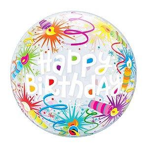 "Balão de Festa Bubble 22"" 56cm - Happy Birthday Velas - 01 Unidade - Qualatex - Rizzo Embalagens"