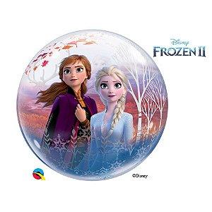 "Balão de Festa Bubble 22"" 56cm - Frozen II - 01 Unidade - Qualatex Disney - Rizzo Embalagens"