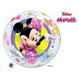 """Balão de Festa Bubble 22"""" 56cm - Minnie Mouse - 01 Unidade - Qualatex Disney - Rizzo Embalagens"""